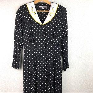 Vintage Black White Polka Dot Dress